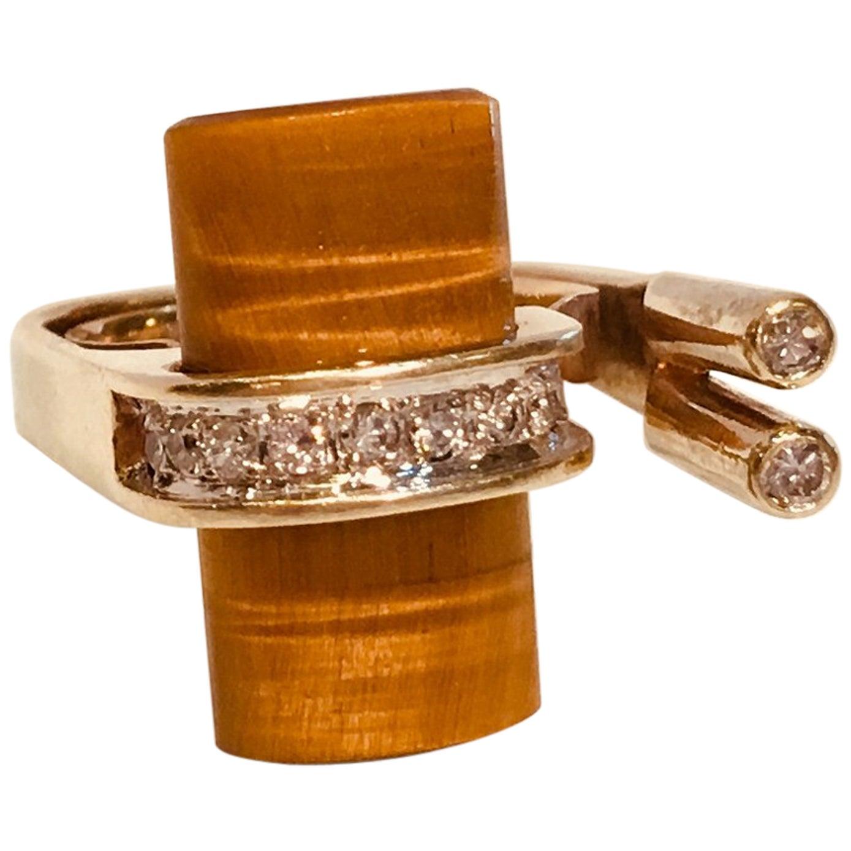 1960s Modern Asymmetrical Tiger's Eye & Diamond Yellow Gold Euro Shank Ring