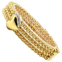 Fope Diamond Heart Bracelet 18 Karat Yellow Gold