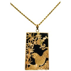 Black Onyx Gold Tiger, Moon & Bamboo Asian Inspired Rectangular Pendant & Chain