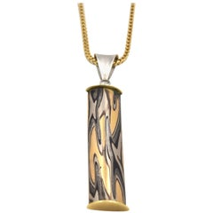 Michael Daniels 18 Karat Yellow Gold and Platinum Mokume Gane Pendant Shih Shab