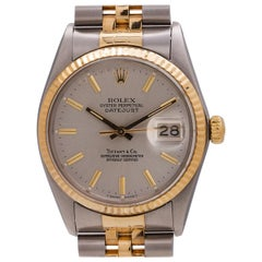 Rolex Datejust Tiffany & Co. ref 16013 Stainless Steel & 18K circa 1980 with Box