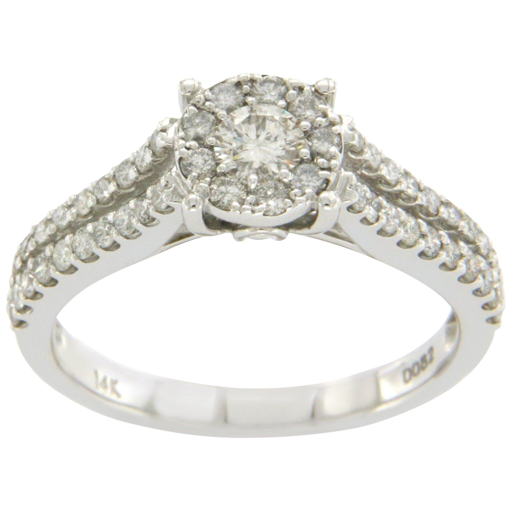 14 Karat White Gold 0.82 Carat Diamonds Engagement Ring