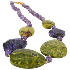 Decadent Jewels Stichtite Charite Gold Necklace
