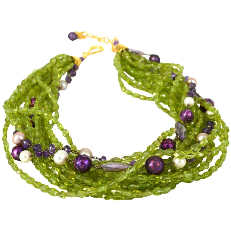 Decadent Jewels Peridot Amethyst Pearl Gold Torsade Necklace For Sale