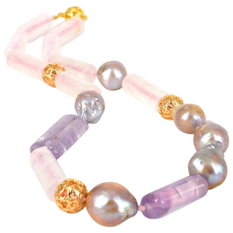 Decadent Jewels Rose Quartz Amethyst Pink Pearl Gold Necklace
