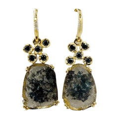 Luca Jouel One of a Kind Black and White Diamond Slice Drop Gold Earrings