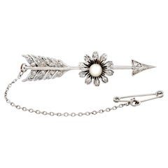 1900s Antique Diamond and Seed Pearl, White Gold Arrow Brooch