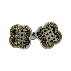 Luca Jouel Black Diamond Decorative 18 Carat Yellow Gold and Silver Cuff Links