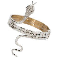 Diamond Serpent Bangle with Ruby Eyes, 750 White Gold