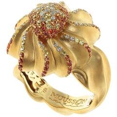 Diamond Yellow Sapphire Orange Sapphire 18 Karat Yellow Gold Cookie Ring