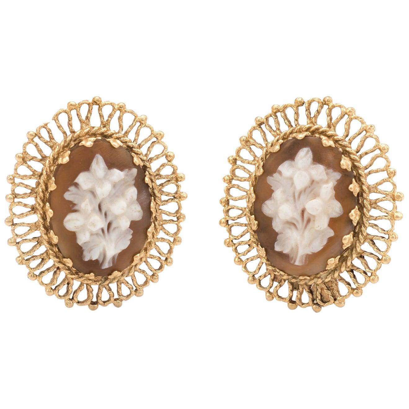 Bouquet of Flowers Cameo Clip Earrings Vintage 14 Karat Gold Estate Jewelry
