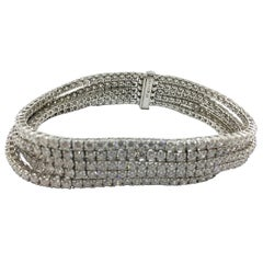 Tennis Bracelet Five Strands Set in 18 Karat Gold Diamonds 19.27 Carat #51-10426