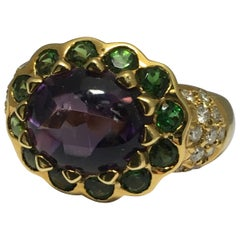 Amethyst, Green Tourmaline and Diamond Ring Set in 18KT yellow Gold #21-12003