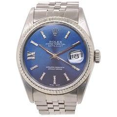 Rolex Stainless Steel Datejust Blue Diamond Dial Wristwatch, circa 2000