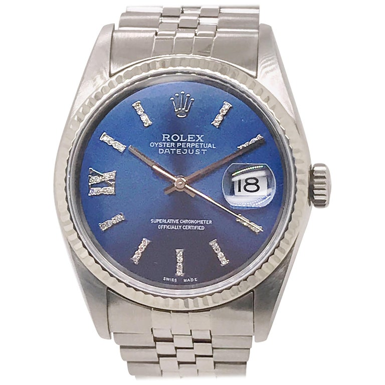 Rolex Stainless Steel Datejust Blue Diamond Dial Wristwatch, circa 2000 For Sale