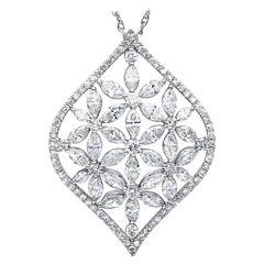 2.08 Carat Diamond Mixed Cut Marquise & Brilliant Fancy Floral Pendant Necklace