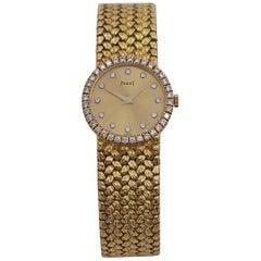 Piaget Ladies Yellow Gold Champagne Dial Diamond Marker Quartz Wristwatch