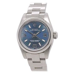 Rolex Oyster Perpetual with Blue Arabic Dial, Original Box & Papers. Circa 2007