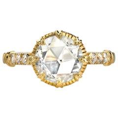1.14 Carat Rose Cut Diamond Engagement Ring