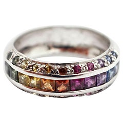 Ladies 14 Karat White Gold 1.60 Carat Rainbow Sapphire Ring