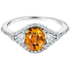 18 Karat White Gold Intense Ceylon Yellow Sapphire Diamond Cluster Cocktail Ring
