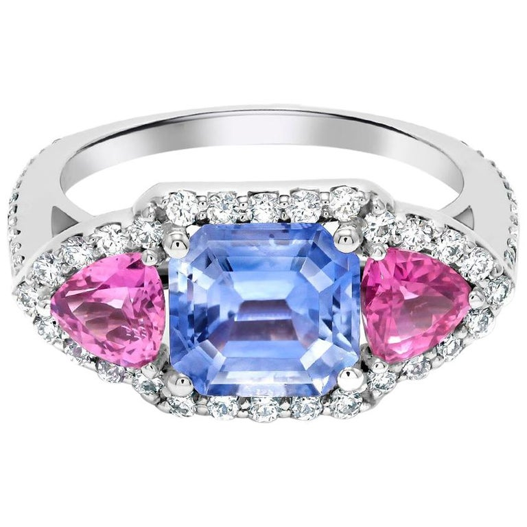 Ceylon EC Blue Sapphire Trillion Pink Sapphire Diamond Cocktail Cluster Ring