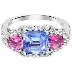 Blue and Pink Ceylon Sapphire Diamond Cocktail Ring Weighing Four Carat