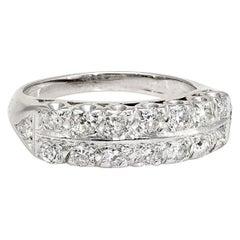 Two-Row Diamond Anniversary Band Ring Vintage 14 Karat Gold Estate Fine Jewelry