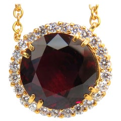 Gia Certified 16.10 Carat Natural Rhodolite and 1.40 Carat Diamonds Necklace