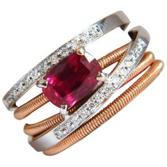 GIA 1.86CT Natural Vivid Red Ruby Diamonds Crossover Band Ring 18KT No Heat