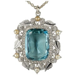 Arts & Crafts 17.60 Carat Cushion Aquamarine Rare Huge Pendant