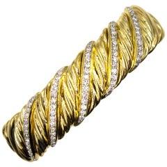 David Yurman Diamond 18 Karat Yellow Gold Sculpted Cable Cuff Bracelet