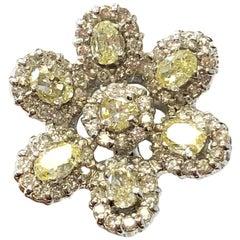 Yellow Diamond Floral Earrings in 18 Karat White Gold