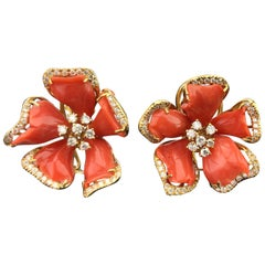 Floral Italian Coral and 18 Karat Yellow Gold Stud Earrings