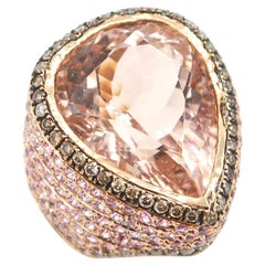 BOON 17.12 Carat Pear Shape Morganite Champagne Diamond Pink Sapphire Gold Ring