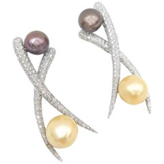 Gold South Sea Pearl Tahitian Pearl Diamond Cross Chopstick Earrings Omega Back
