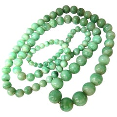 290 Carat GIA Certified Natural Green Jade Bead Necklace