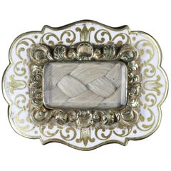 Antique Victorian Child's Memorial Brooch White Enamel, circa 1880
