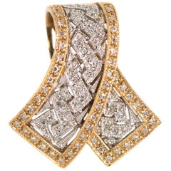 Diamond Ribbon Pendant in Two-Tone 14 Karat Gold