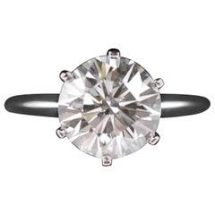 Tiffany & Co. Platinum Diamond Ring, 3.04 carat, Round Brillant, VVS2, E