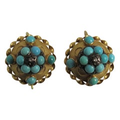 18 Karat Yellow Gold Turquoise and Rose Cut Diamond Earrings on Gold Wire