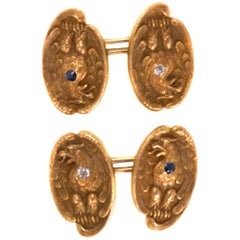 1860s Victorian Cufflinks in 14 Karat Yellow Gold with Diamonds and Sapphires