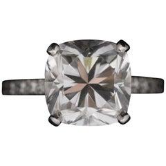 Tiffany Platinum Diamond Ring, 4.04 carat, Square Cushion Brilliant, VVS1, F