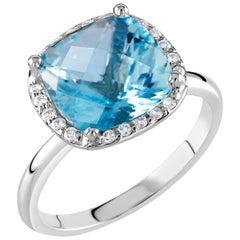 18 Karat White Gold Four Carat Aquamarine Diamond Cocktail Cluster Ring