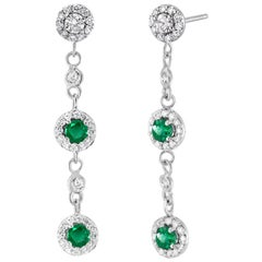 Round Emerald Diamond Drop Dangle Halo Earrings