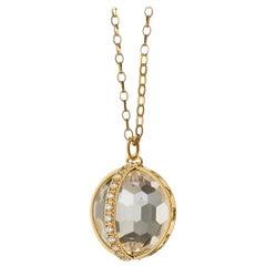 "Monica Rich Kosann 18 Karat Yellow Gold ""Carpe Diem"" Pave Diamond Charm Necklace"