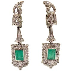 Emerald and Diamond Pendant Earrings