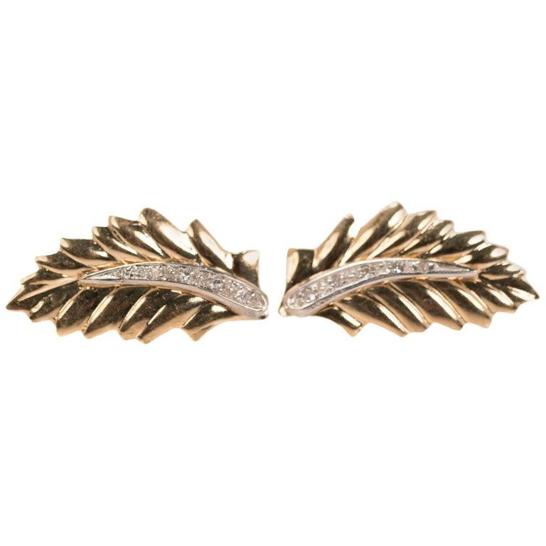 1950s Leaf Diamond Stud Earrings in 14 Karat Yellow Gold