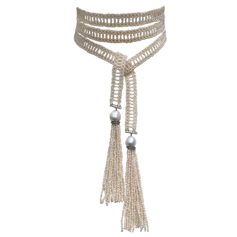 Woven White Seed Pearl Sautoir with Pearl Tassels, Diamonds, and 14 Karat Gold