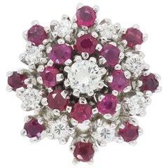 Vintage Diamond and Ruby Starburst Ring